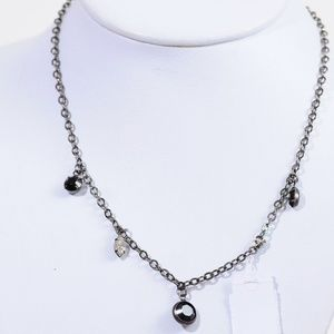 Rachel Hematite Chain Faceted Stone Necklace #146